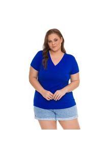 Blusa T-Shirts Plus Size Decote V Lisa. Royal
