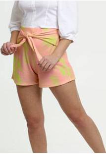 Short Feminino Clochard Neon Estampa Tropical Marisa