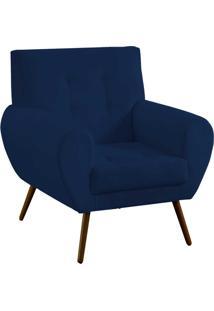 Poltrona Decorativa Beluno Suede Azul Marinho Pés Palito - D'Rossi