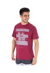 Camiseta Fatal Estampada 22123 - Masculina - Vinho