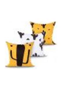 Jogo Capa Almofada Para Sala Ou Quarto Estampada Decorativa Cacto Kit Com 3 Unidades 45Cm X 45Cm Com Zíper
