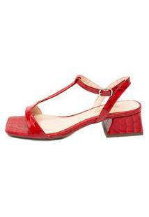 Sandália Coratta Em Couro Bico Quadrado Vermelho