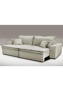 Sofa Retrátil E Reclinável Com Molas Cama Inbox Premium 2,12M Tecido Em Linho Bege Escuro