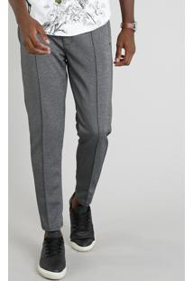 Calça Masculina Slim Cropped Com Friso Cinza Mescla Escuro