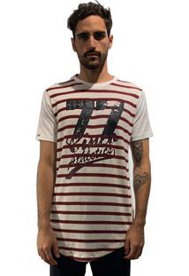 Camiseta 775 Listrada Alongada Off - Vinho