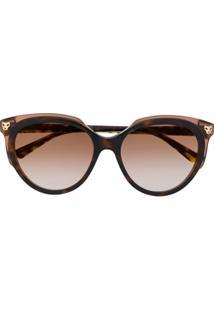 Cartier Óculos De Sol Gatinho Panthère - Marrom