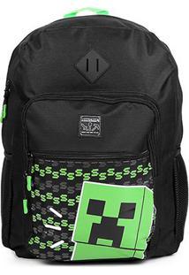 Mochila Dmw Minecraft - Masculino-Preto+Verde