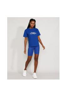 "T-Shirt Feminina Mindset Com Bordado Soul Search"" Manga Curta Decote Redondo Azul Royal"""