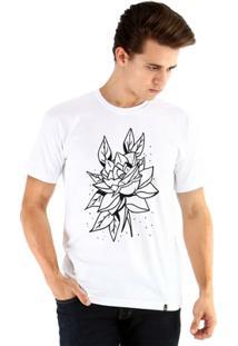 Camiseta Ouroboros Manga Curta Rosa Rústica Masculina - Masculino-Branco