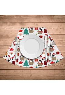 Jogo Americano Para Mesa Redonda Wevans Multi Papai Noel Bege Kit Com 6 Pçs
