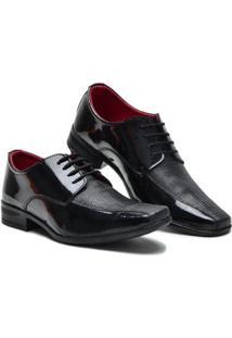 Sapato Social Garra Cadarço Bico Quadrado Verniz Masculino - Masculino-Preto