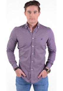 Camisa Social Masculina Slim Xadrez - Masculino-Roxo+Lilás