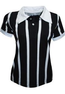 Camisa Liga Retrô Polo Botão Listrado Feminino - Feminino