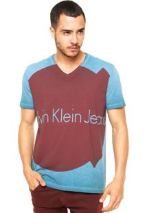 Camiseta Calvin Klein Jeans Contrastante Azul/Bordo