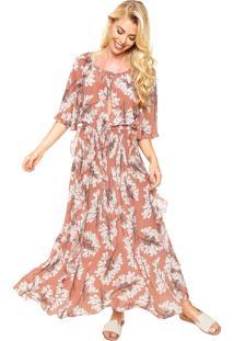 Vestido Seda Clube Bossa Longo Floral Rosa