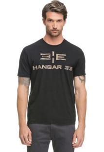 Camiseta Bordado Camuflado Preto Hangar 33