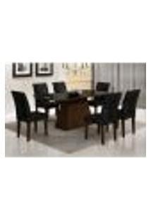 Conjunto De Mesa De Jantar Luna Ii Com Vidro E 6 Cadeiras Grécia Suede Castor E Preto