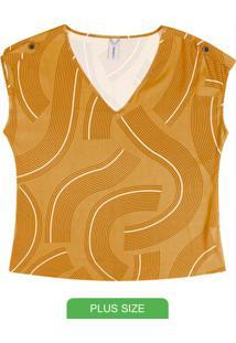 Blusa Estampada Com Decote V Amarelo