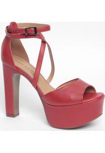 Sandália Meia Pata Com Tiras Cruzadas - Vermelha- Salança Perfume