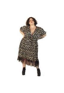 Vestido Almaria Plus Size Vintage And Cats Midi Estampado Preto