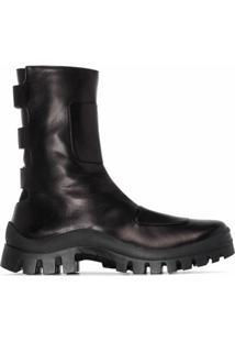 Manu Atelier Ankle Boot Moon Boot De Couro - Preto