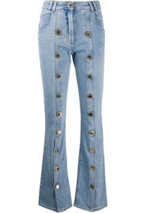 Balmain Calça Jeans Flare Com Aplicação Nos Botões - Azul