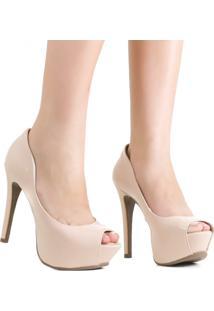 Sapato Zariff Shoes Meia Pata Peep Toe Nude