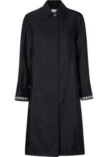Burberry Trench Coat Listrado Com Logo - Preto