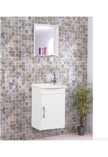 Conjunto Com Gabinete, Pia E Espelho Charmin Branco - Casabras