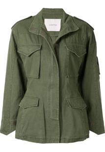 Pushbutton Cut Out Cargo Jacket - Verde