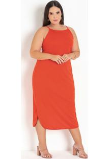 Vestido Laranja Com Barra Arredondada Plus Size