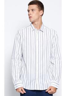 Camisa Slim Listrada- Branca & Azul- Colccicolcci