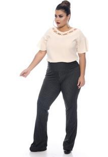Blusa Creme Cruzada Plus Size