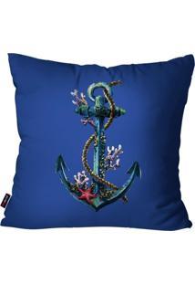 Capa De Almofada Decorativa Avulsa Azul Âncora 45X45Cm Pump Up