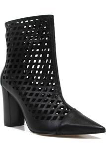 Bota Zariff Shoes Ankle Boot Vazado Feminina - Feminino-Preto
