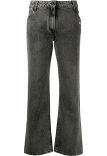 Off-White Calça Jeans Cintura Média Cropped - Preto