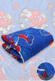 Edredom Solteiro Lepper Dupla Face Microfibra Spider Man 1,50 M X 2,20 M Azul
