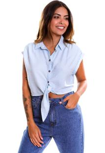 Camisa Le Julie Cropped Azul