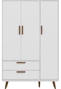 Roupeiro 3 Portas Retrô Branco-Acetinado E Eco Wood Matic Móveis