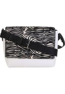 Bolsa Couro Loucos & Santos Flap Animal Print Zebra Feminina - Feminino-Branco