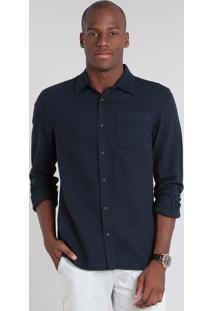 Camisa Masculina Comfort Em Flanela Com Bolso Manga Longa Azul Marinho