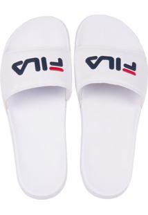Chinelo Fila Slide Drifter Branco/Marinho/Vermelho 37