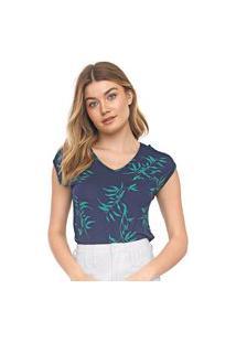 Blusa Cativa Folhagem Azul-Marinho/Verde