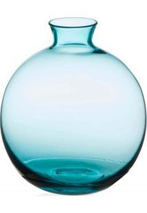 Vaso Em Vidro Malaga Azul Turquesa 13Cm
