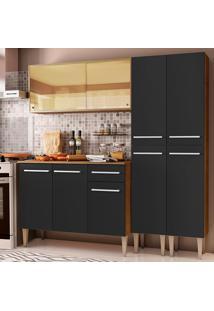 Cozinha Completa Madesa Emilly Voice Com Armário Vidro Reflex, Balcão E Paneleiros - Rustic/Preto Marrom