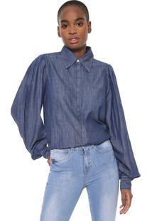 Camisa Colcci Manga Bufante Azul