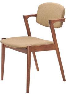 Cadeira Greta Madeira Seringueira Linho Cor Marrom - 28669 - Sun House