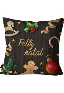 Capa De Almofada Pump Up Decorativa Avulsa Natalina Feliz Natal Marrom 45X45Cm