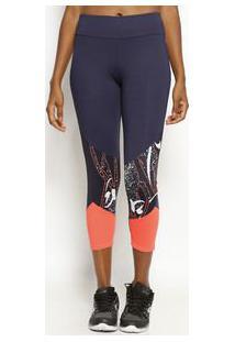 Body For Sure Legging Abstrata Com Recortes Azul Marinho & Laranja