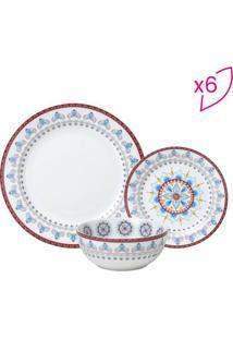 Aparelho De Jantar- Branco & Vermelho- 18Pçs- Rorojemac